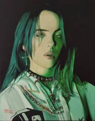 Billie Eilish oil painting.