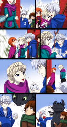 ROTG - Frozen - HTTYD : Snow Memory by widzilla