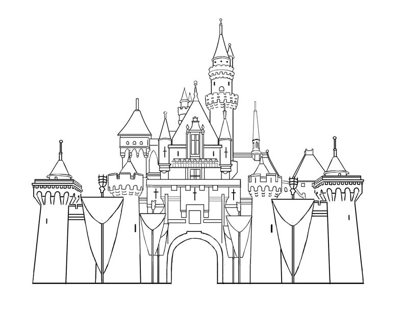 liahona coloring page - disney land castle lineart by liahona on deviantart