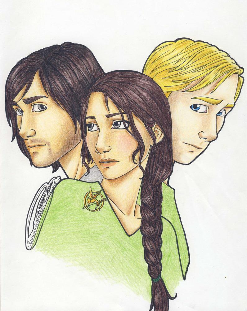 Gale , Katniss and Peeta by miriamartist on DeviantArt  Katniss And Peeta Fan Art Love