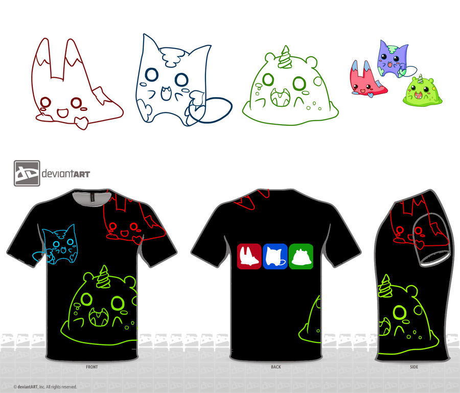 Black T-shirt Cute Monster Contest by YuikoHeartless