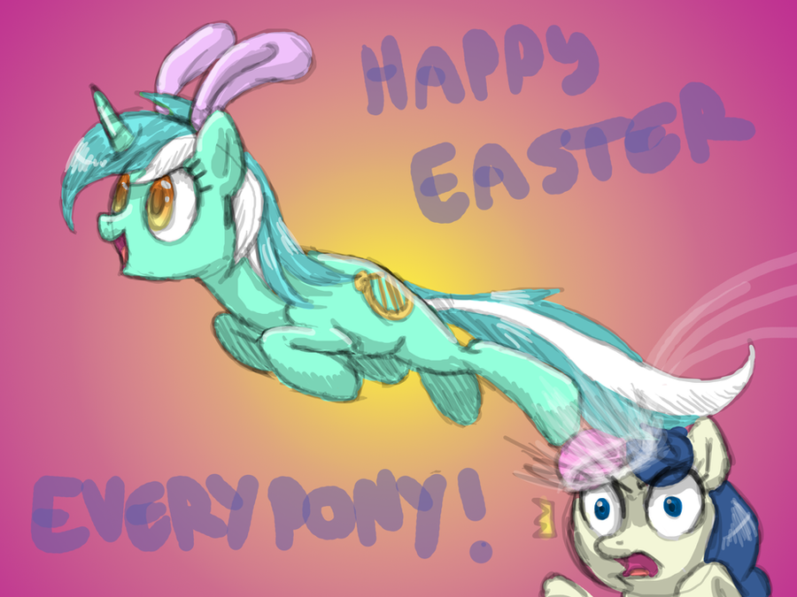 A Lyrabunny Easter by DawnMistPony