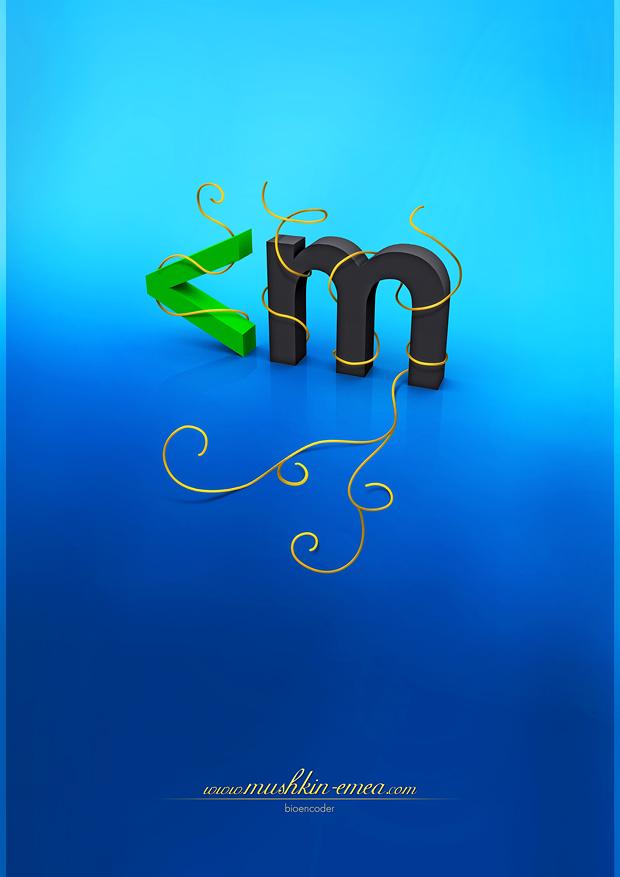 Golden 3D Mushkin Poster by Bioencoder
