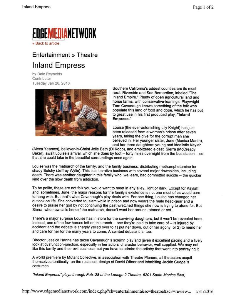 INLAND EMPESS by TOM CAVANAUGH HIT REVIEWS! by TOMCAVANAUGH