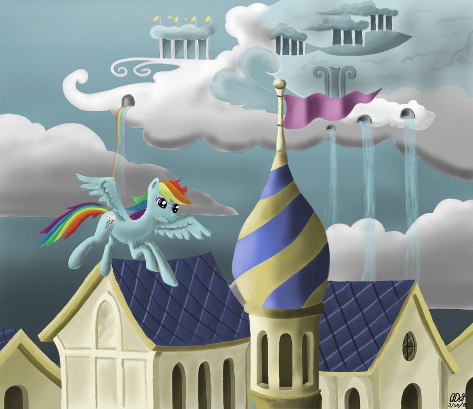 Rainbow Dash in flight by ArtOfCanterlot