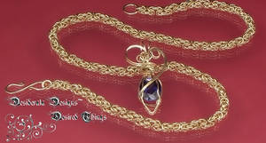 Sapphire Pendant and Gold Byz by mdvannes