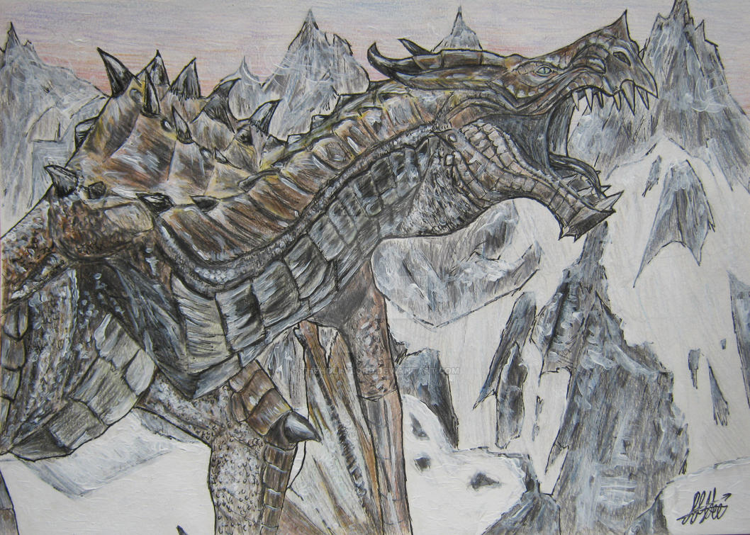 Skyrim Dragon by TheHollyLord