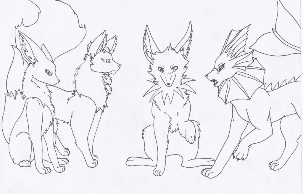 Eevee, Flareon, Jolteon, Vaporeon Sketch by Thanatos-Dolofonia