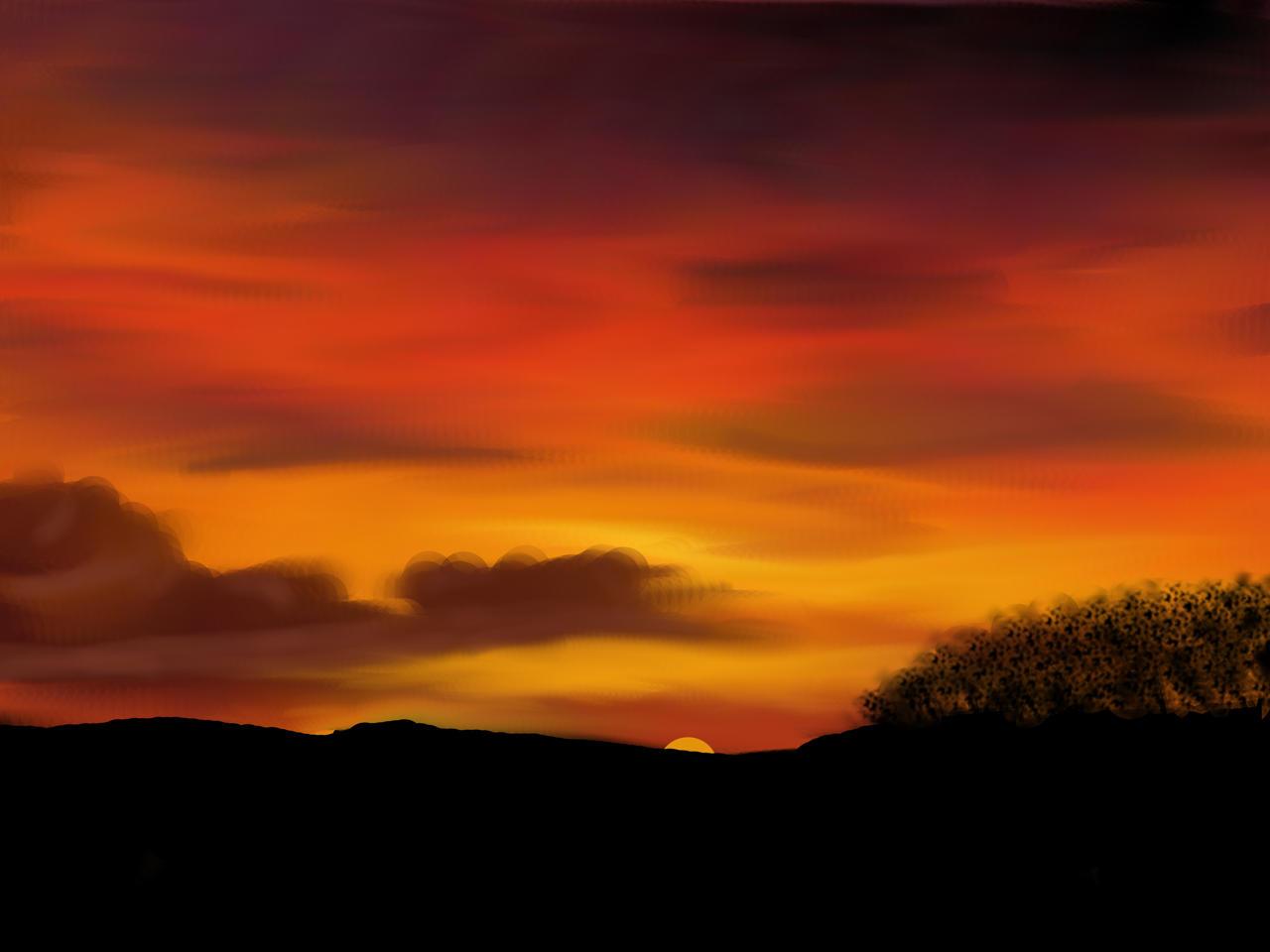 sunset drawing by strangelatiasgirl on DeviantArt