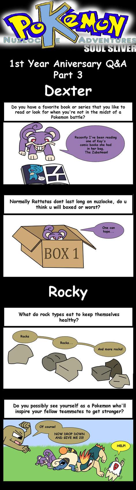Nuzlocke 1st Year Q+A Part 3: Dexter + Rocky by supernanny191