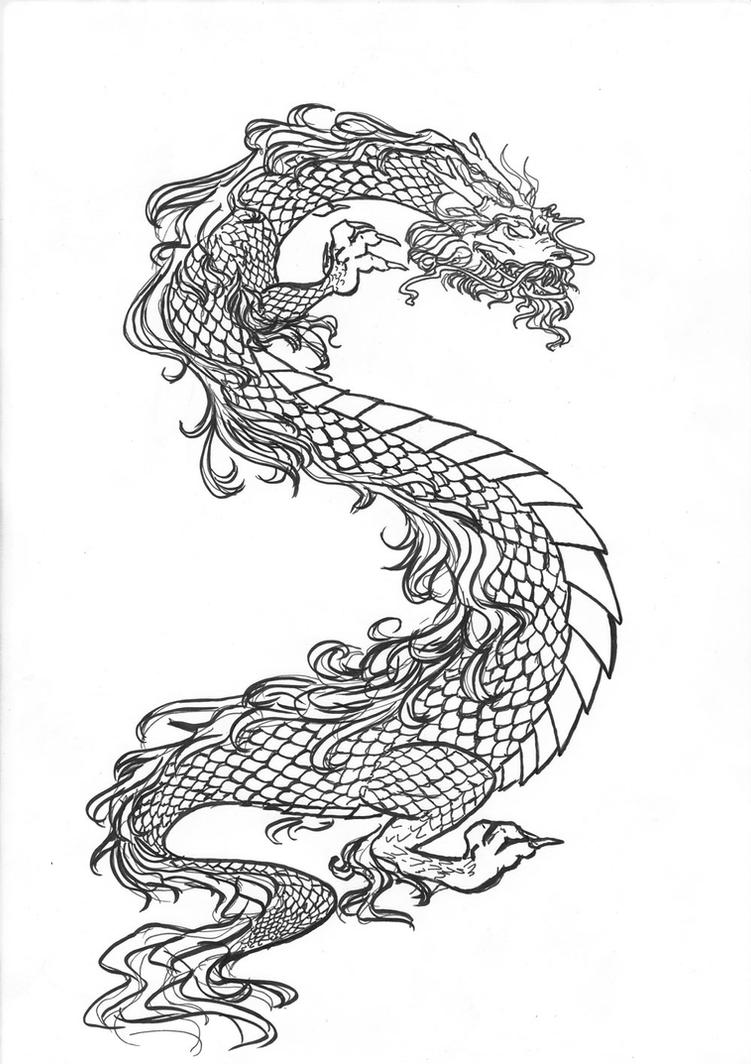 Chinese Dragon lineart by Lucifielle on DeviantArt