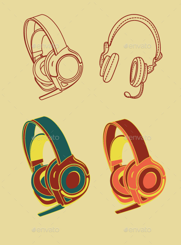 Vintage Headphones by caffeinesoup
