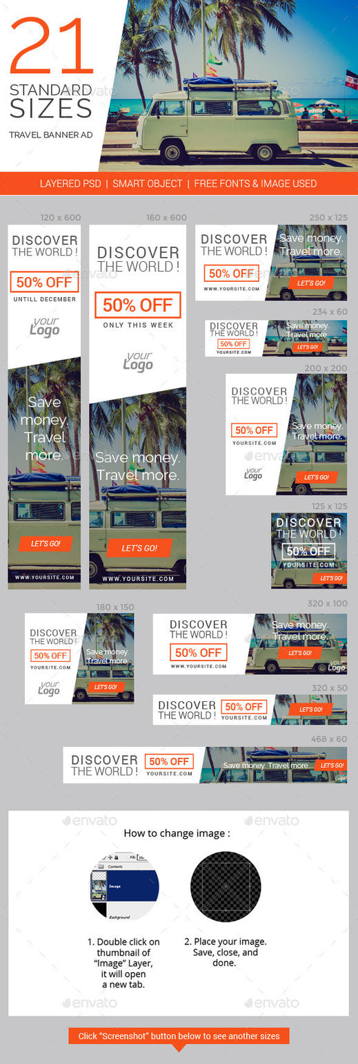 Travel Vacation Web Ad Marketing Banners by caffeinesoup