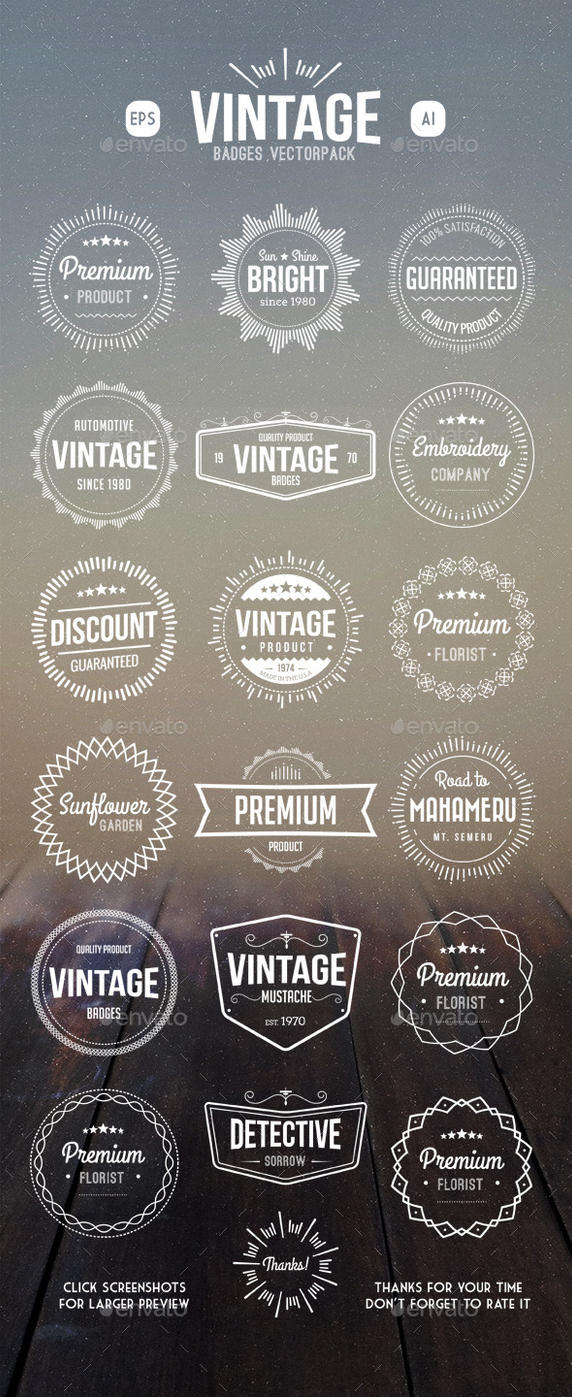 Vintage Retro Badges by caffeinesoup