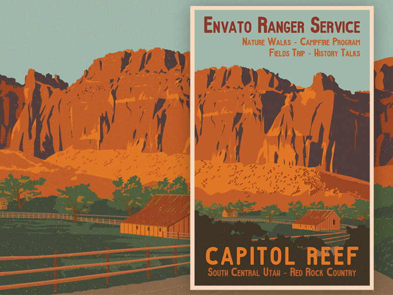 Capitol Reef Utah Travel Poster by caffeinesoup