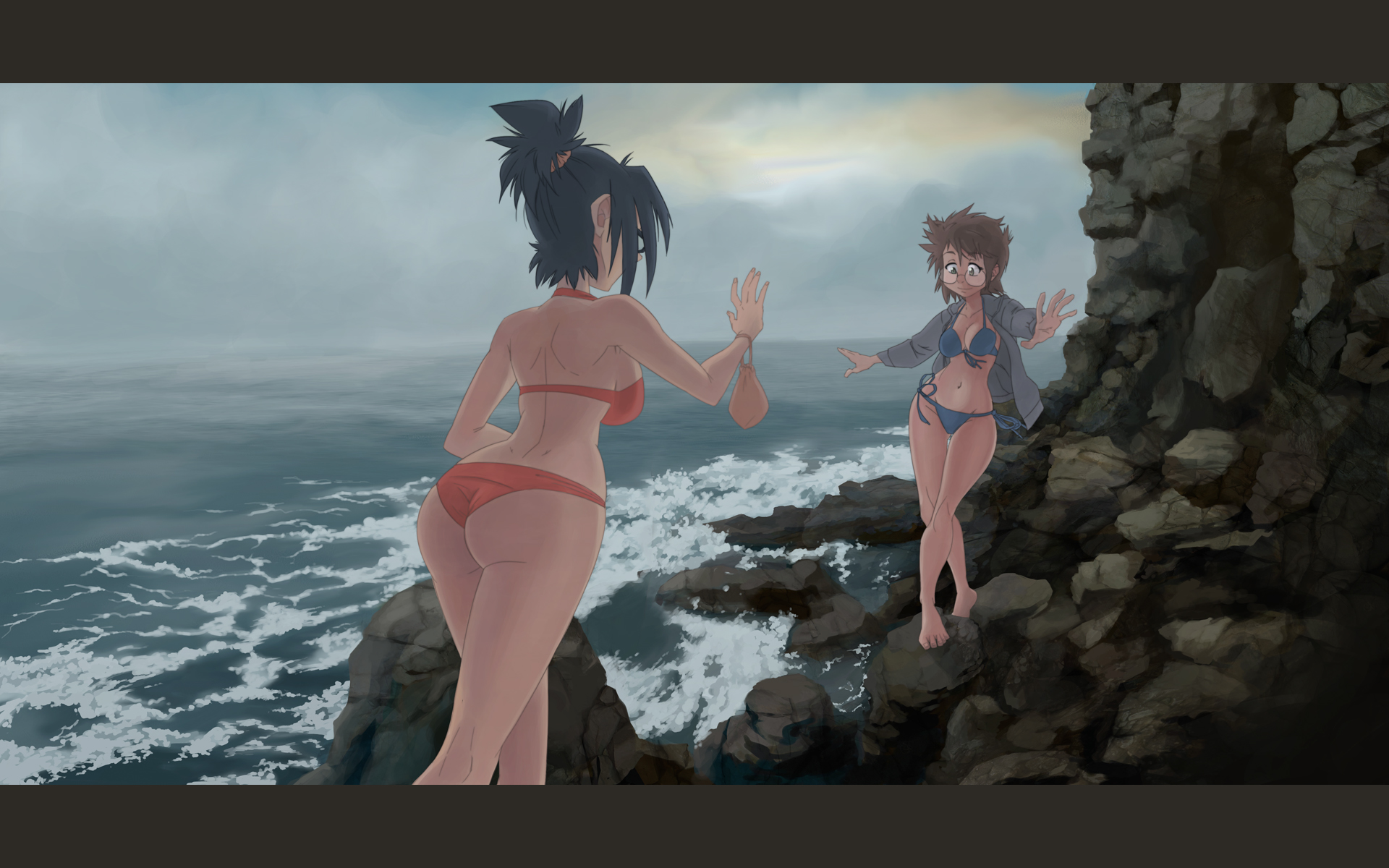 nova and Erika at the beach 02 - REDUX by will-Ruzicka