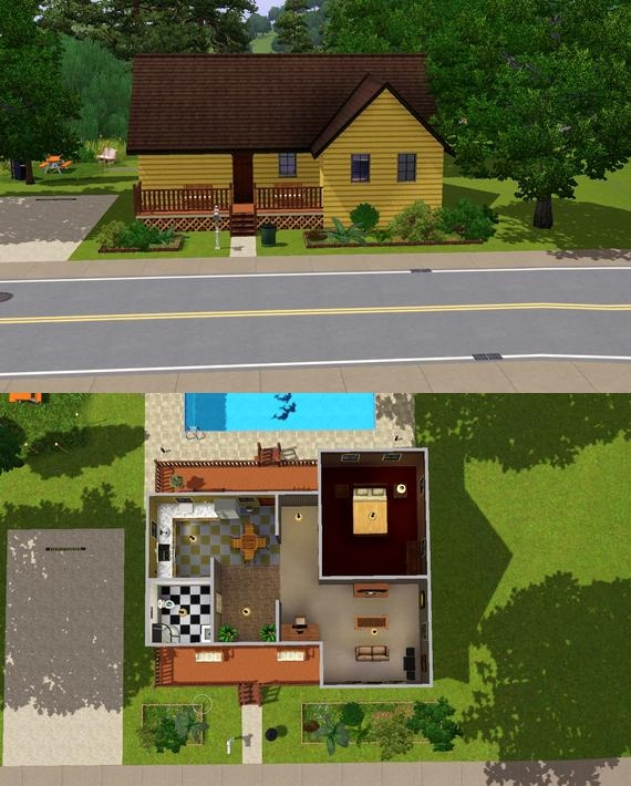 Sims 3 starter home by phpscriptcoder for Small starter homes