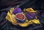 Figs and plum-tree leaves