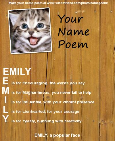 Name Poem By Emily Arsenault