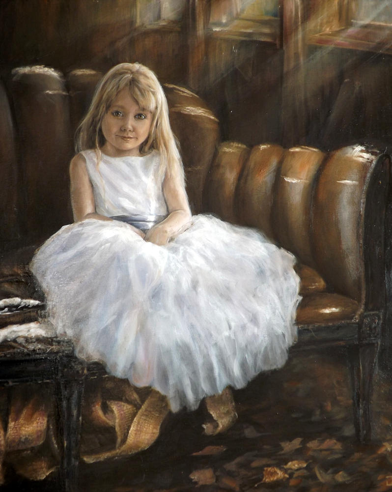little girl and old sofa by jbillustration