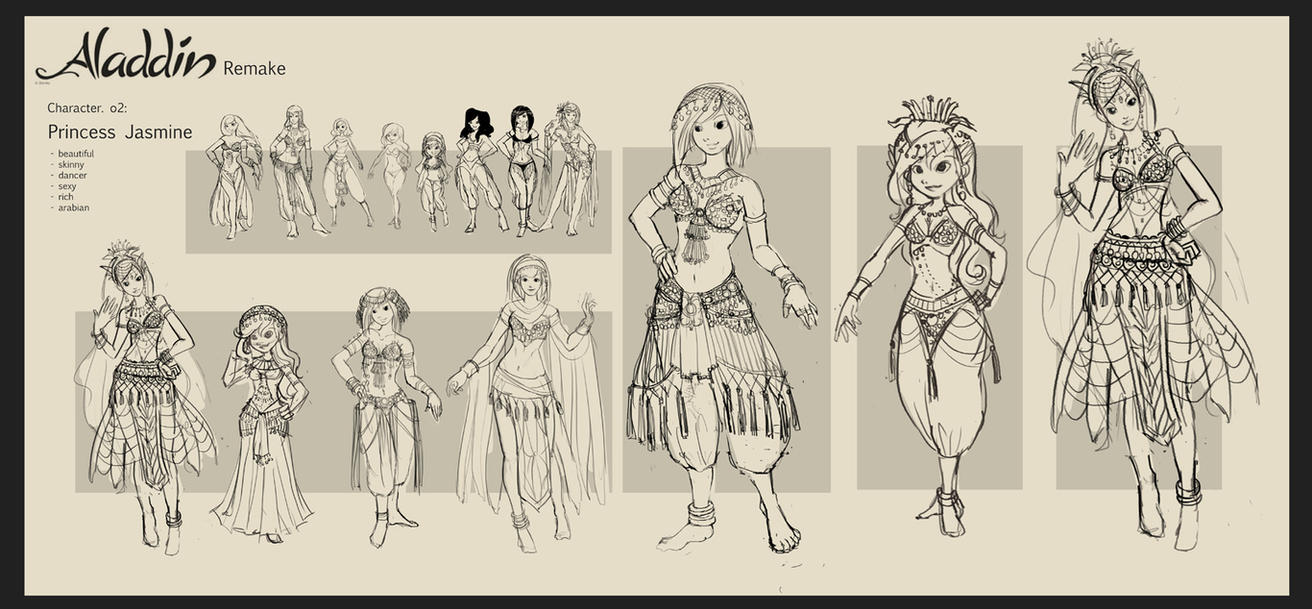 Aladdin Redesign - Jasmine Sketch by anacathie