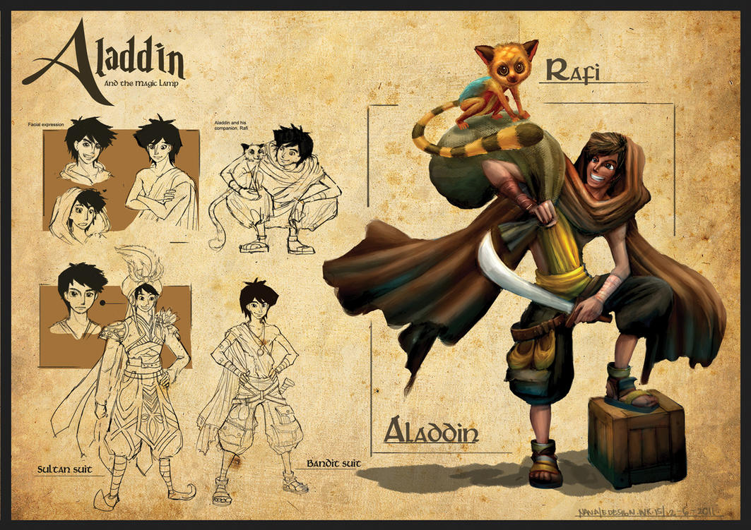 Aladdin Redesign - Aladdin Sketch by anacathie