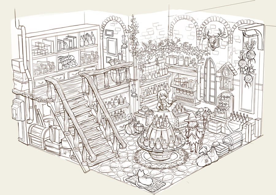 Potion Shop Lineart by nagisadreamer