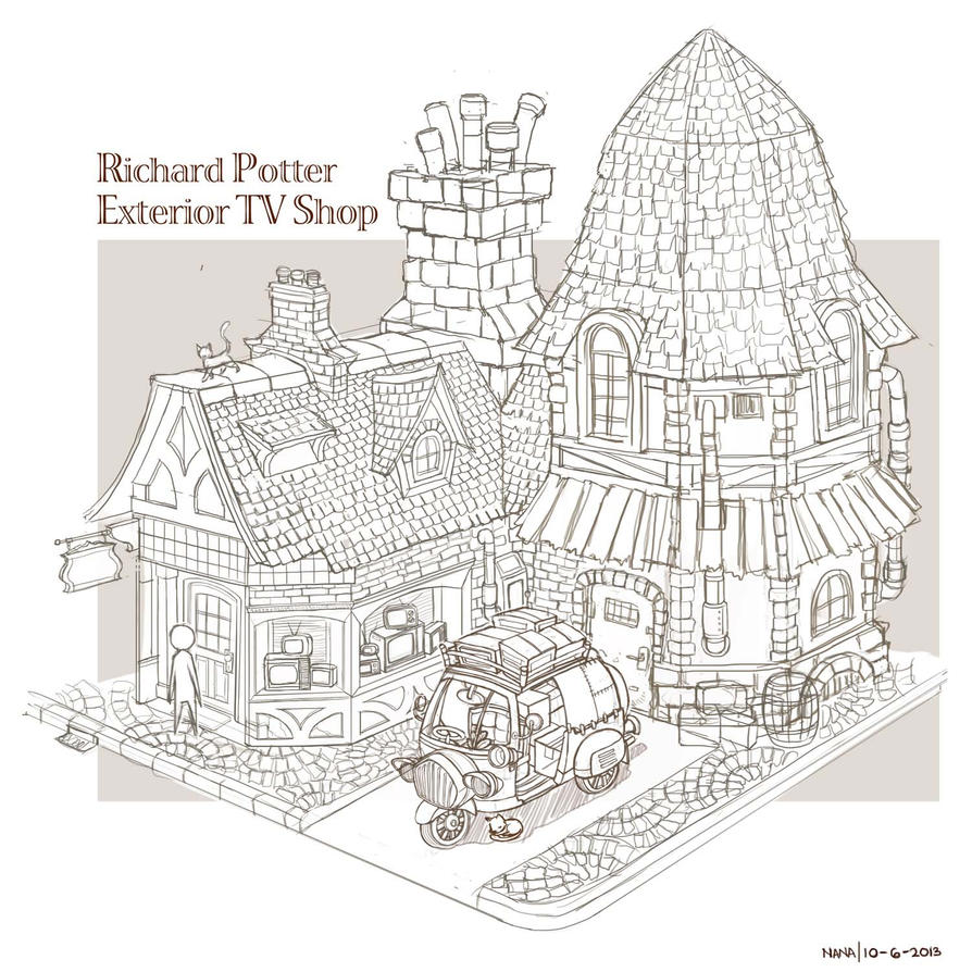 Richard Potter Exterior TV Shop - Lineart by anacathie