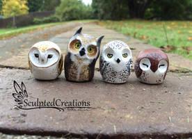 Handmade clay mini owls by SculptedCreations
