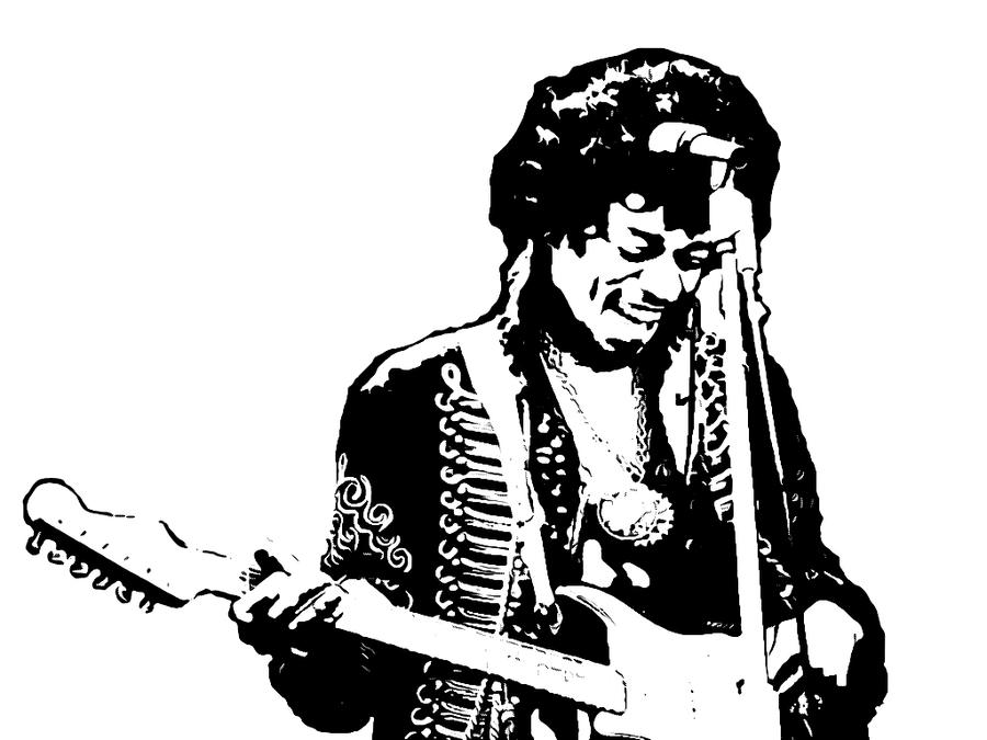 Jimi Hendrix Guitar Stencil By Klaus0000