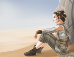 Rey overlooking the sandy dunes of Jakku