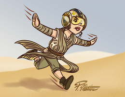 Rey letting her imagination fly by BW-Straybullet