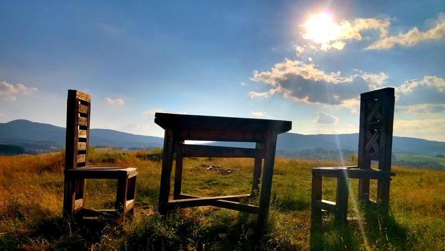 Chairs on seven field, Zulova, Czech republic by JiriBobalik