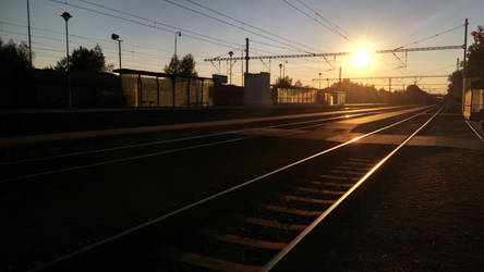 Sunset over railway
