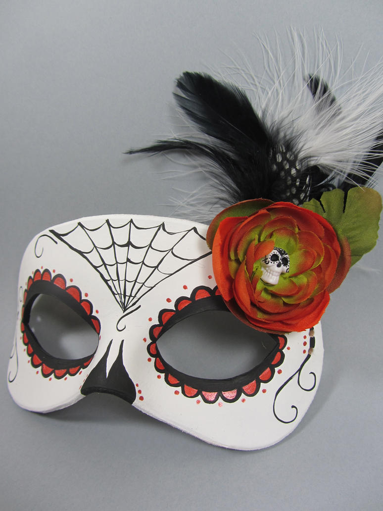 Day of the dead orange spiderweb leather mask by for Day of the dead arts and crafts