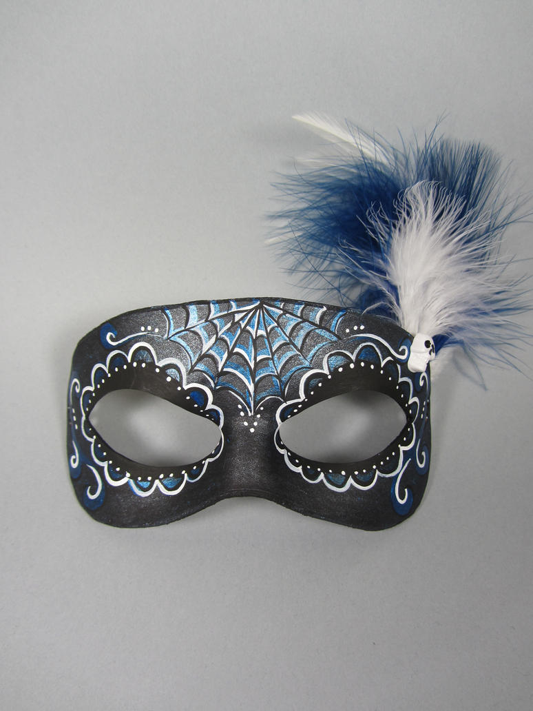 Day of the Dead Blue Accented Leather Mask by maskedzone
