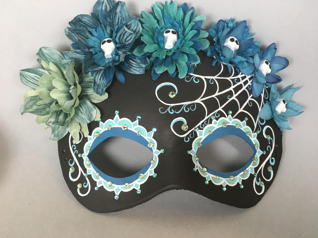 Flower crown masquerade day of the dead teal black by maskedzone on flower crown masquerade day of the dead teal black by maskedzone izmirmasajfo