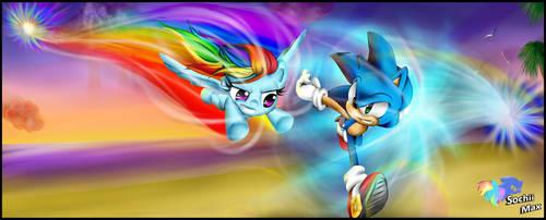 Sonic and rainbow dash fan-art by XSochiiX