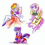 Anthro Pony Sketches