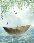 free background paperboat