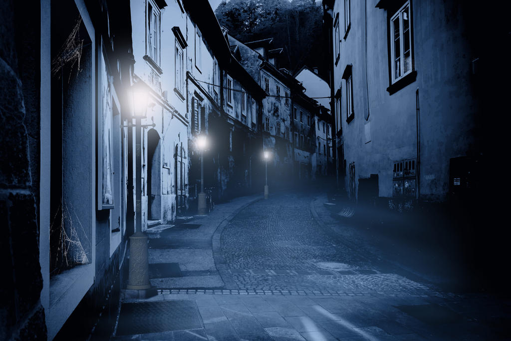 Premade Background Haunted Street 1 By H Stock