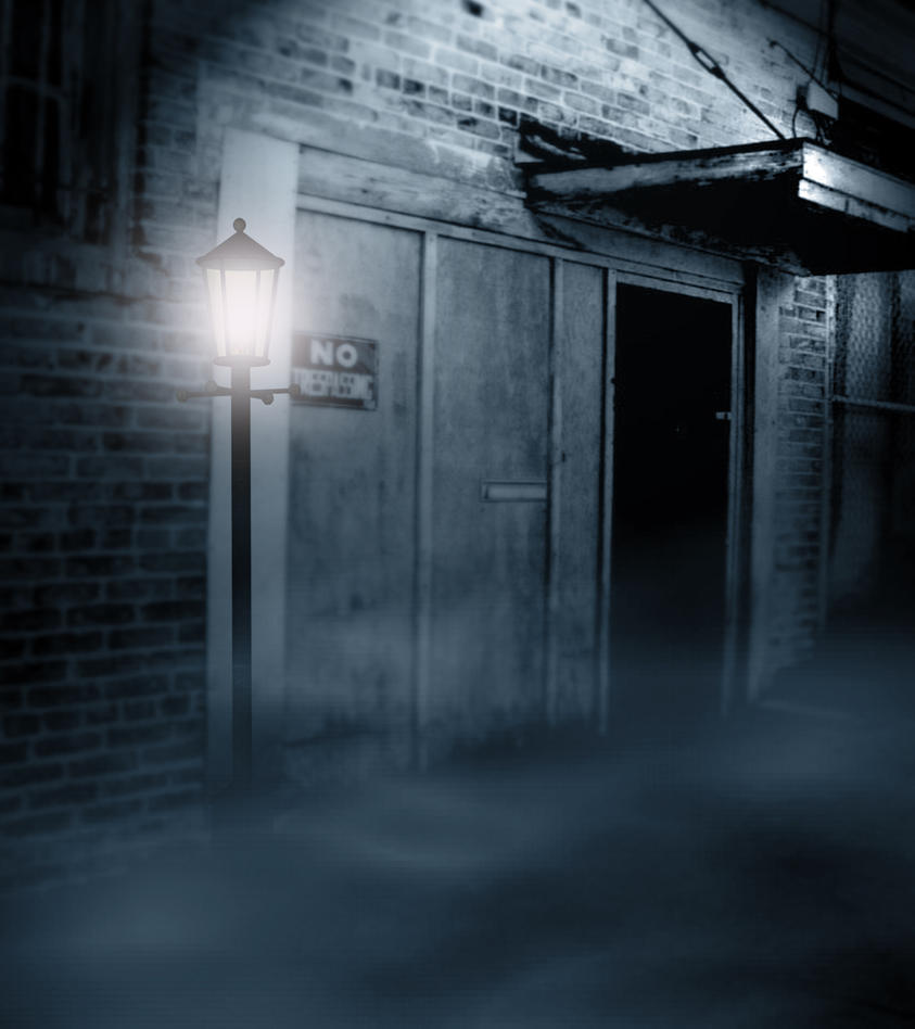 Premade Background Haunted Street 2 By H Stock