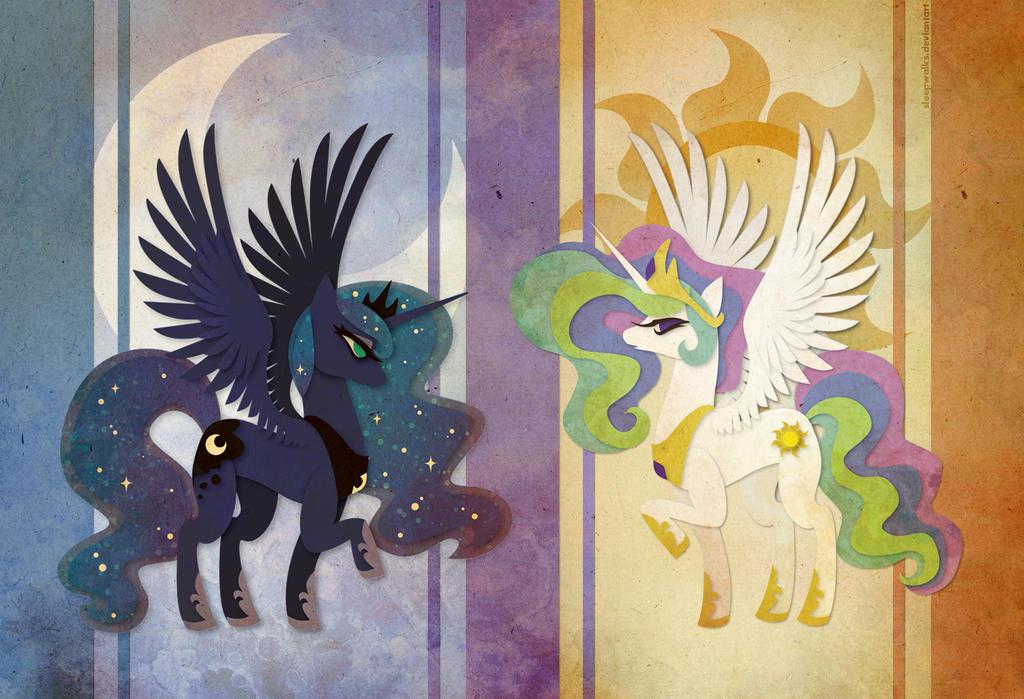 Celestia and Luna by Sleepwalks