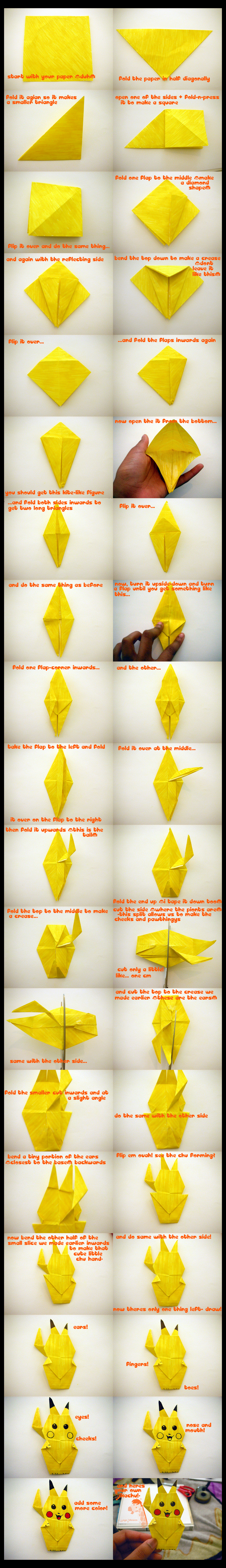 How to Make an Origami Pikachu (with Pictures) - wikiHow | 8623x1244