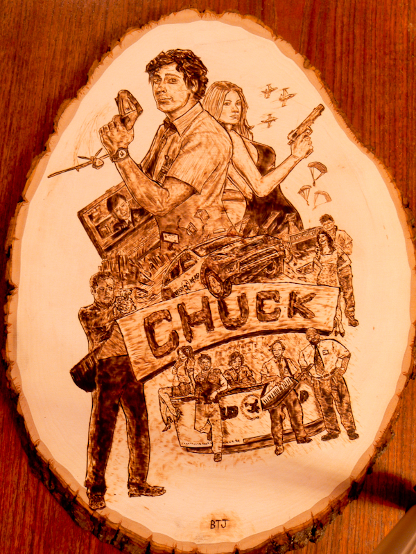 Chuck TV show poster - Wood burning by brandojones