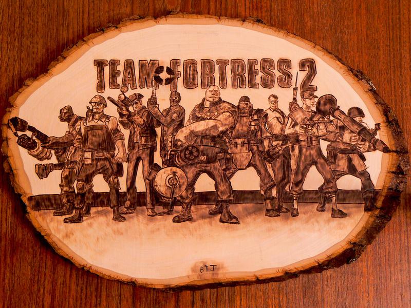 Team Fortress 2 - Wood burning (pyrography art) by brandojones