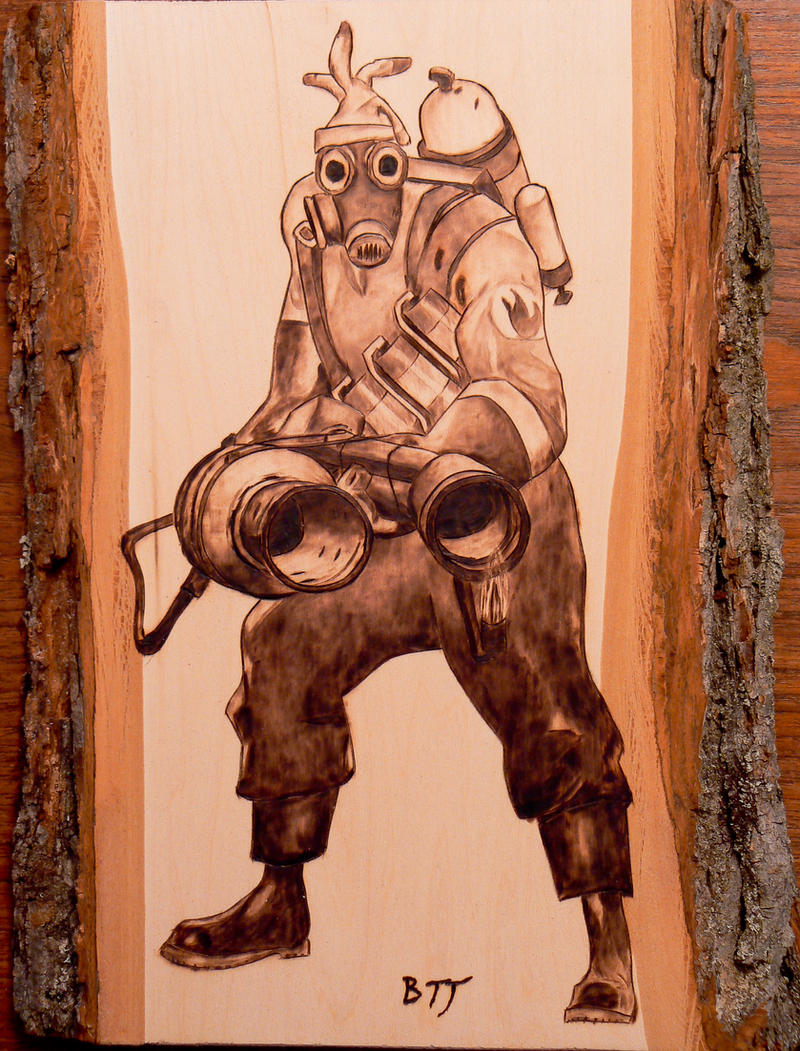 Pyro - Team Fortress 2 - Wood burning by brandojones