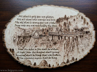 Lord Of The Rings - Wood burning #2 (with quote) by brandojones