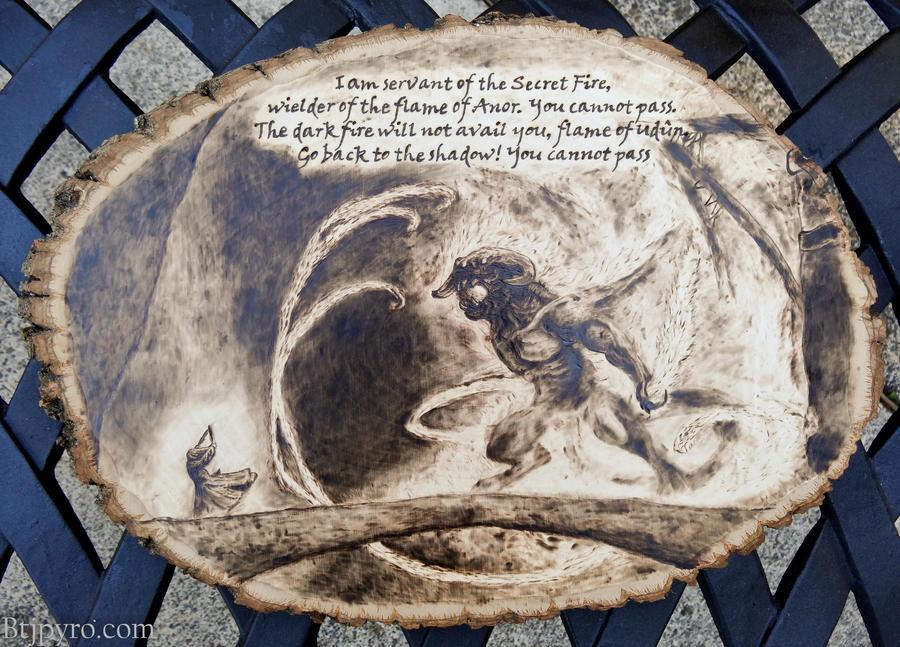LOTR - Gandalf vs. Balrog - Wood burning by brandojones