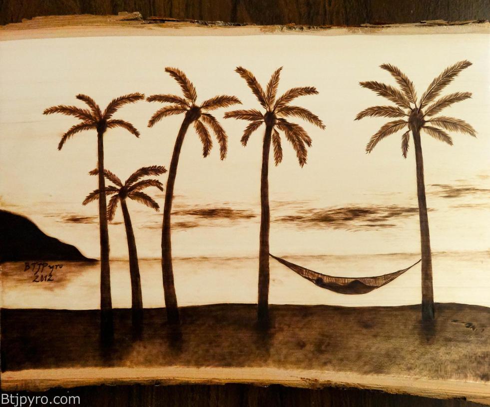 Relaxing on the beach -- Wood burning - Remake by brandojones on ...